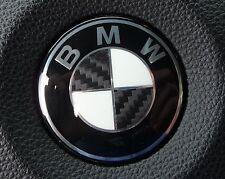 """CARBON AUFKLEBER Emblem ECKEN DEKOR in SCHWARZ für BMW """"MADE in GERMANY"""" 01-05"""
