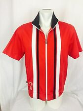 Vintage 1980's PUMA full Zip Front Short Sleeved Thick Shirt. Medium.