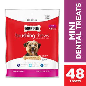 Milk-Bone Brushing Chews Daily Dental Dog Treats, Mini, 18.9 Ounces, 48 Bones Pe