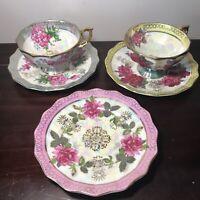 Vintage Fan Crest Fine China #2721 Tea Cup & Saucer Floral Hand Painted Japan
