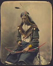 1899 Native American, Hunter, Portrait, Bone Necklace,Council Chief, 14x11 PHOTO
