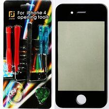 Front Glas Scheibe für Apple iPhone 4 Frontglas Display Schwarz mit Reparaturset