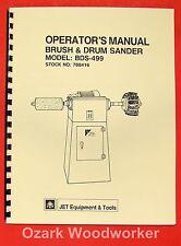 JET/Asian BDS-499 Brush & Drum Sander Owner's Operator's & Parts Manual 0905