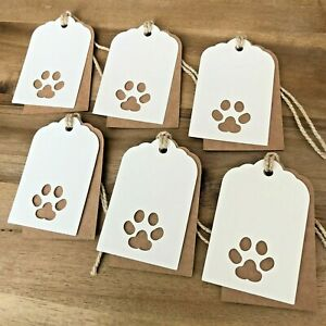 6 Handmade Pet Paw Print Double Layered Kraft Brown & Ivory Cat or Dog Gift Tags