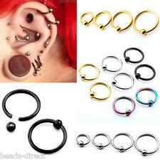 2/8pcs 16G Steel Ear Cartilage Nose Lip Eyebrow Captive Bead Hoop Ring Piercing