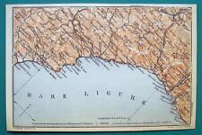 1931 BAEDEKER MAP - Italy GENOA SAVONA LOANO Ligurian Sea Coast + Railroads