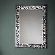 Bronte Mosaic All Glass Frame Silver Rectangle Art Deco Wall Mirror 109x79cm