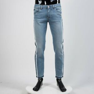 DOLCE & GABBANA 895$ Skinny Jeans With Side Bands In Blue Stretch Denim