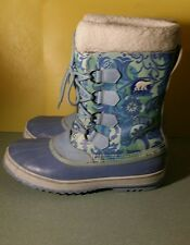Sorel Blue Warm Winter Rain / Snow Boots Floral Lace-up Lined USA 10 UK 8 (8.5US