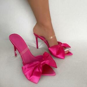 Silk Butterfly-Knot Patchwork Shallow Head Peep Toe Stiletto High Heels Sandals
