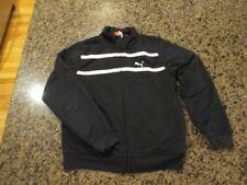 Puma Warm Up Athletic Jacket Boys 7 Black Zip Up Polyester track Running workout