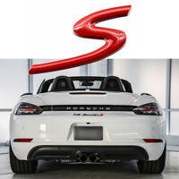 Sporty Red 3D S Badge Emblem For Porsche Cayenne Cayman Macan 911 Carrera GT