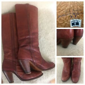 Vintage Frye Womens Brown Leather Tall Boots Made In USA Size 7.5 B  Style #7943