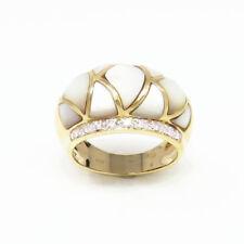 NYJEWEL Brand New 14K Yellow Gold Moonstone Diamond Band Ring