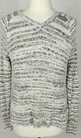 Eileen Fisher Sweater Size XS Gray White Marled Knit V Neck