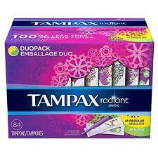 Tampax Radiant Duopack Tampons, Regular/Super 84 ct.