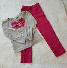 Janie & Jack Winter Brights Girls 6 Gray Top Bright Pink Satin Bow Slacks Pants