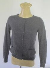 Grey CASHMERE CARDIGAN Long sleeve TOP Round neck Pockets Sz S Jumper Vintage Sy