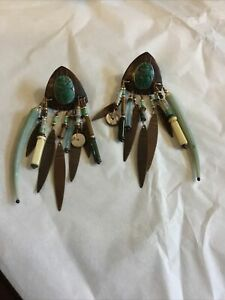 """3 1/2"""" LONG VINTAGE SIGNED TABRA CARVED SCARAB TURQUOISE GLASS DANGLE EARRINGS"""