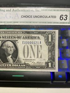 3 Digit Serial Super Low Trinary Number 00000121 1928 $1.00 Silver Cert  UNC !