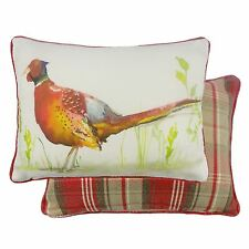 RED PHEASANT FILLED TARTAN EVANS LICHFIELD LINEN COTTON CUSHION 43 X 33CM