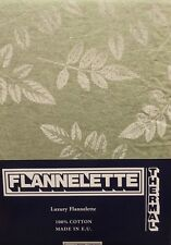 SINGLE BED FLANNELETTE FITTED SHEET FITTED 100% COTTON LEAVES PASTEL GREEN