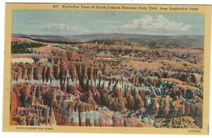 Bryce Canyon National Park, Inspiration Point,Utah c1940's Unused Linen Postcard