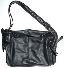 "CHARLES JOURDAN Paris ""Marcy"" Black Leather Shoulder Bag X-Large Hobo Purse LkNu"