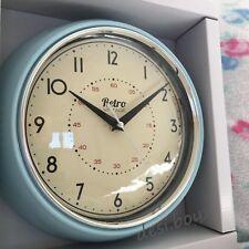 Retro Vintage Diner Round American Kitchen Wall Clock Red Black Cream Blue