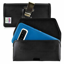 Turtleback Galaxy Note 8 Leather Black Holster for Otterbox DEFENDER Metal Clip