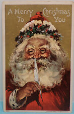 1908 Antique Christmas Postcard Santa Claus Holding a Quill Pen embossed