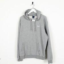 Vintage NIKE Small Logo Hoodie Sweatshirt Grey | Large L