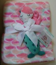 Girls Baby Gear 2 Pc Pink Peach Green Mermaid Baby Blanket And Security Buddy