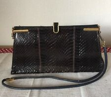 Vintage Jane Shilton Genuine Black Snake Skin Clutch