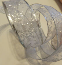By the Yard White Sheer Silver Glitter Snowflakes Wired Ribbon Holiday Christmas