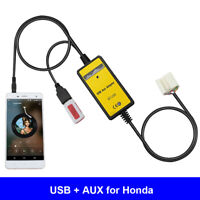 Car USB 3.5mm Aux In Adapter Cable Radio Interface Fit For Accord Civic Odyssey