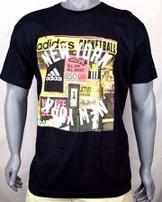ADIDAS New York Basketball Phone Graphic Tee Shirt NYC Crew Black TShirt Mens XL