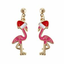 Hat Earrings Pendants Ear Studs Jewely New Year Christmas Flamingo with Santa