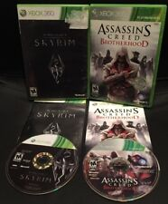 XBOX 360 ✔ ASSASSINS CREED BROTHERHOOD & SKYRIM BUNDLE ✔ TESTED & SHIPS TODAY!