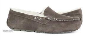 UGG Ansley Slate Suede Fur Slippers Womens Size 9 *NIB*