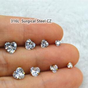 50pcs Heart CZ 20G Earring Ear Studs Men/Women Ear Helix Tragus Body Piercing