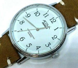Vintage Acqua Timex Mens Silver Leather Analog Quartz Watch Hours~New Battery