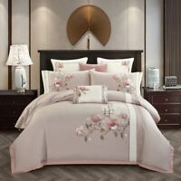 Embroidered Egyptian Cotton Bedding Set Flat Fitted Sheet Pillowcase Duvet Cover