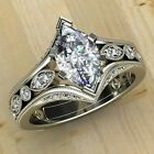 Marquise Cubic Zirconia Luxury Women Engagement Jewelry 925 Silver Rings Sz 6-10
