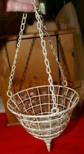 "Hanging Crystal Beaded & Metal Lantern Tea Light Candle Holder 17.5"" X 7""D"