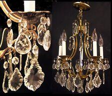 Vintage Hollywood Regency Crystal Prisms Chandelier Brass Ceiling Light Fixture