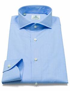 Luigi Borrelli Shirt IN Light Blue With Shark Collar RegEUR320