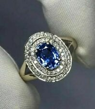 14K White Gold Finish Blue Sapphire & Diamond Cluster Cocktail Ring 2.10Ct Gift