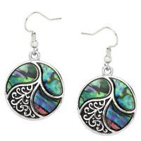 Abalone Shell Earrings Drop Dangle Beach Sea Life Nautical Swirl Circle SILVER