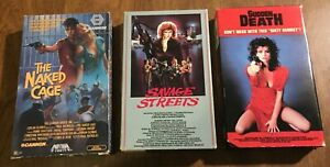 3 BETAMAX BETA Tapes NAKED CAGE Sudden Death SAVAGE STREETS Exploitation
